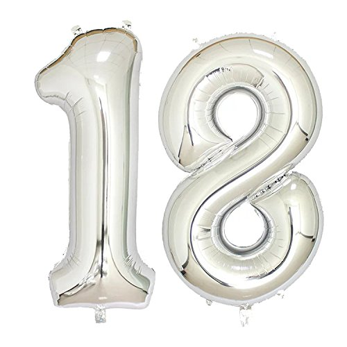 40 inch Jumbo Silver Number Balloons for Birthday Party, Anniversary Decoration … (Silver18)