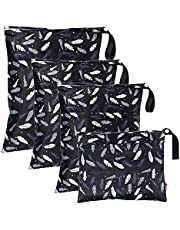 4Pcs Baby Cloth Diaper Wet Bags,Waterproof Reusable Cloth Nappy Wet Bags,Travel Packing Organizer with Handle for Baby Diaper Travel Beach Pool Exercise Black