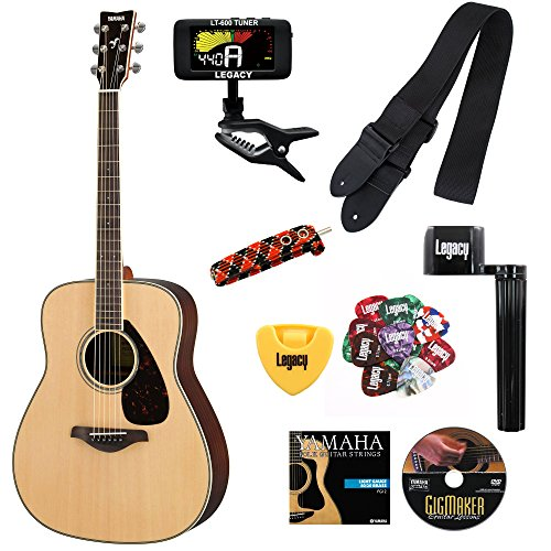 Yamaha FG830 Folk Guitar, Solid Top, Rosewood Back and Sides, with Legacy Accessory Bundles, Many to Choose From