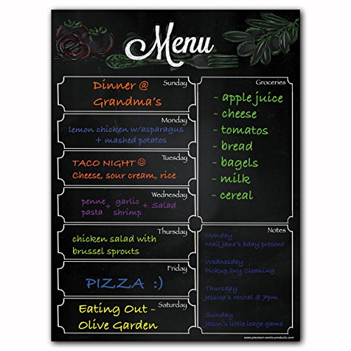 Magnetic Menu Dry Erase Weekly Meal Planner Refrigerator Board With Grocery List And Notes (Menu Blackboard) ()