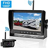 "Emmako FHD 1080P Digital Wireless Backup Camera and 7"" Monitor Kit for RV/Truck/Trailer/Camper/Bus,High-Speed Observation System Adjustable Rear/Front View, Guide Lines ON/Off, IP69K Waterproof"