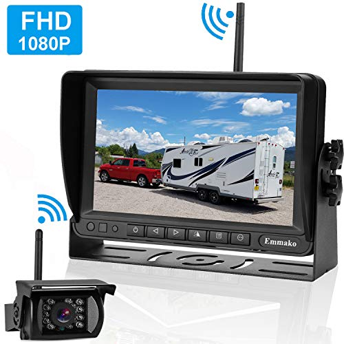Emmako FHD 1080P Digital Wireless Backup Camera and 7'' Monitor Kit for RV/Truck/Trailer/Camper/Bus,High-Speed Observation System Adjustable Rear/Front View, Guide Lines ON/Off, IP69K Waterproof