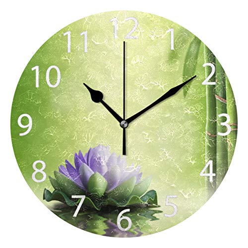 senya Zen Garden Theme Decor Purple Lotus Round Wall Clock, Silent Non Ticking Oil Painting Decorative for Home Office School Clock Art
