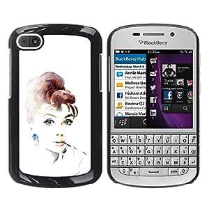 For BlackBerry Q10 Case , Movie Star Vintage Retro Actress - Diseño Patrón Teléfono Caso Cubierta Case Bumper Duro Protección Case Cover Funda