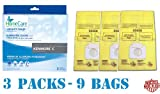 Includes 9 Kenmore Style C, 5055 Premium American Made Scented Vacuum Bags by Home Care. Designed to fit all Kenmore Canister Vacuum Cleaners made since 1995, including the Whispertone, Intuition, Progressive, PowerMate and others. Designed for Kenmo...