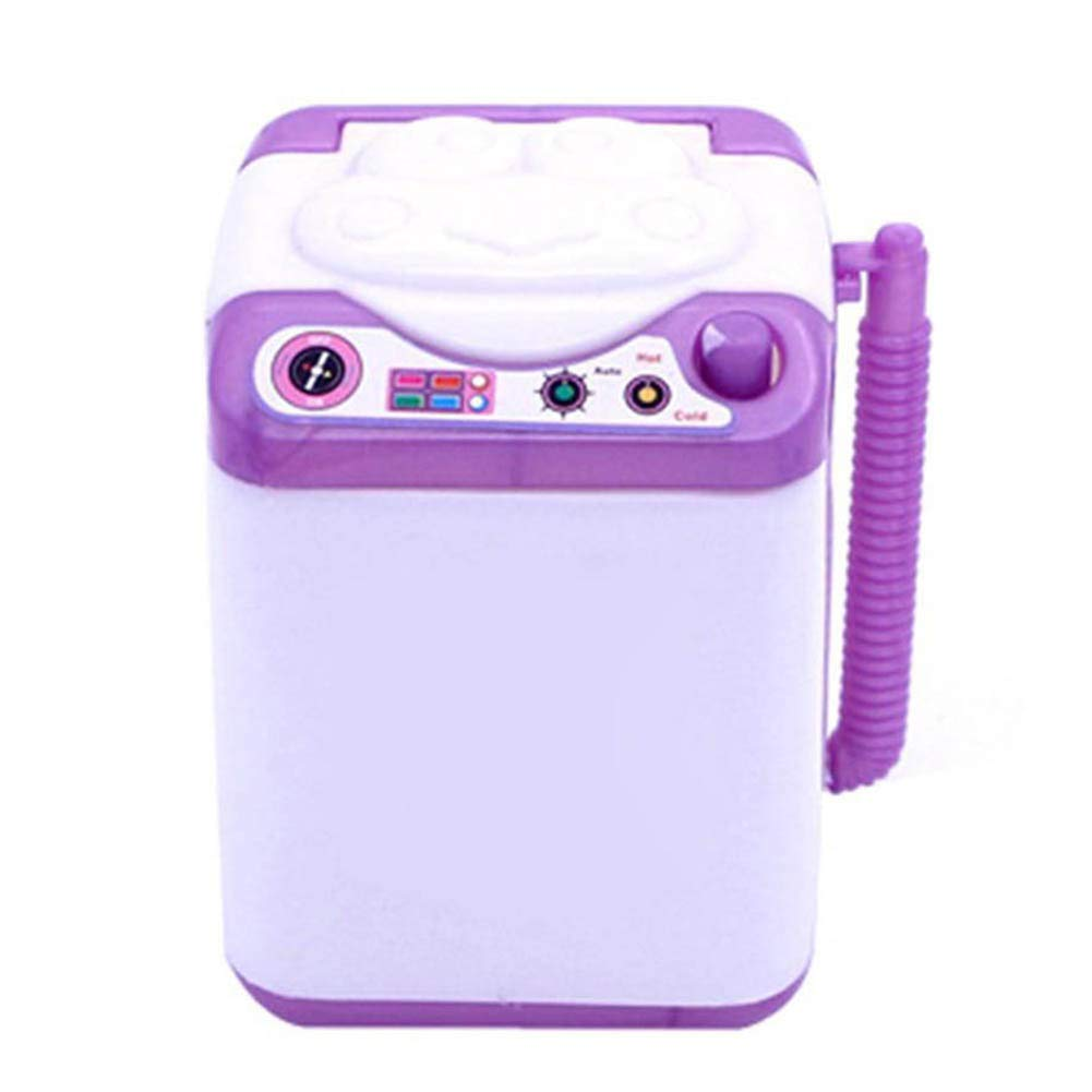 Mini Simulated Kids Children Washing Machine RolePlay Toys Gift Doll Accessories Makeup Brush Cleaner Device Automatic Cleaning Washing Machine Random Color