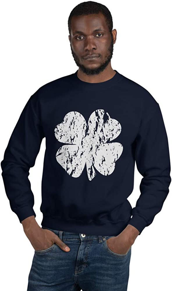 Dantes Inferno Distressed St Pattys Shamrock Unisex Sweatshirt Navy