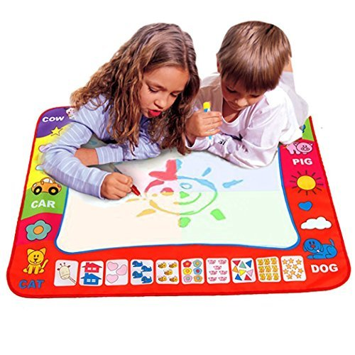 "FUNME Aqua Magic Water Doodle Mat 4 Color Boys Water Magic Drawing Board 2 Magic Pens Kids Educational Toy with 2 Magic Drawing Pens for Boys Girls Toddlers Kids Children 31.5"" x 23.6"""