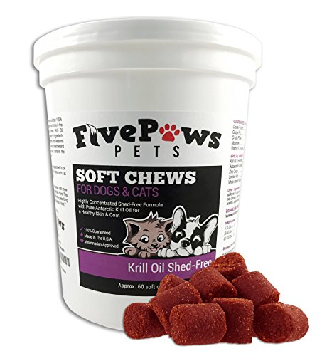 SHED Free Antarctic Krill Oil Soft Chews for Pets, Richer in Omega 3 Fatty Acids than Fish Oil, Our Chews Help Reduce Shedding & Promotes Healthy Skin & Coat for Both DOGS & CATS