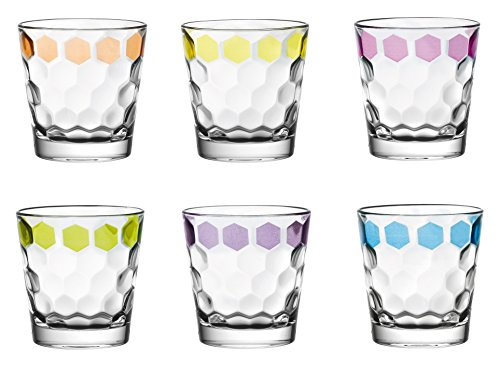 Majestic Gifts European High Quality Glass Tumblers with hand painted dots on each glass, assorted colors, 12.5 oz. SET of -