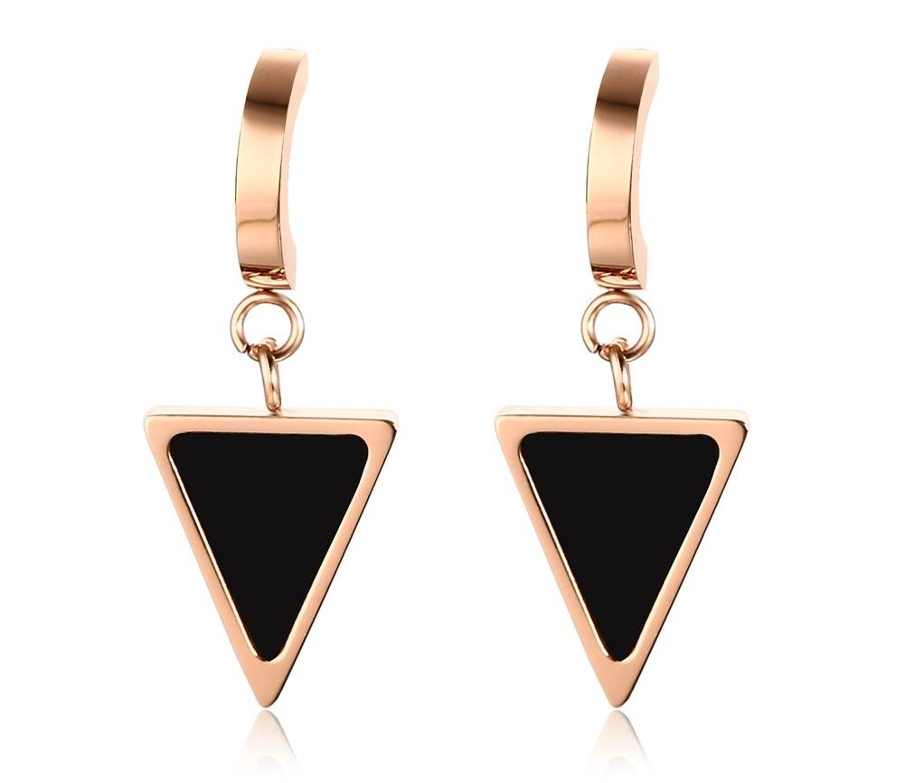 PJ Jewelry Stainless Steel Simple Geometric Two-tone Black Rose Gold Small Triangle Dangle Earrings