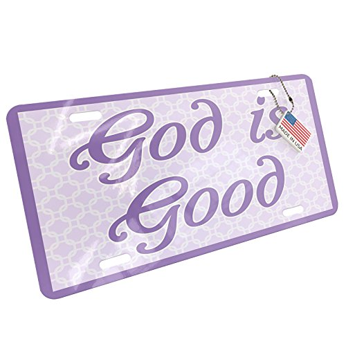 Metal License Plate God is Good Purple Easter Trellis - Neonblond -