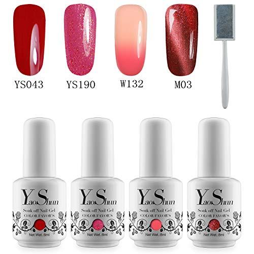 YaoShun Colour UV Nail Gel Polish Set 8ml Pure Color + Temperature Color Change Gel + Magnetic Cat Eye Gel Nail Polish #1