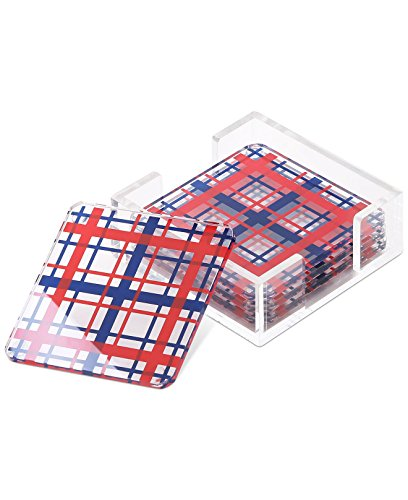 Tommy Hilfiger Set of 4 Acrylic Plaid Coasters, Blue/Red