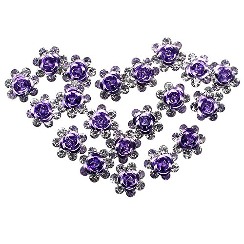 Newstarfactory Rose U-sharped Design Collection Metal Hair Pins Pack of 20 with Exclusive Gift (Purple)
