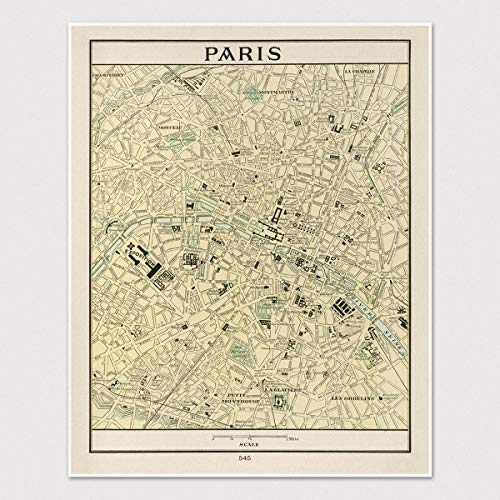 Old Paris Map Art Print, France, Archival Reproduction, 11x14 inches, Unframed, 1901