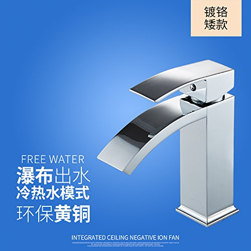 10 LHbox Basin Mixer Tap Bathroom Sink Faucet The copper basin and cold water faucet waterfall faucet vanity area with sink and high surface basin faucet, Brass chrome Low) A