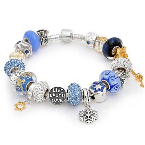 Sterling Silver Hanukkah Bead Charm Bracelet