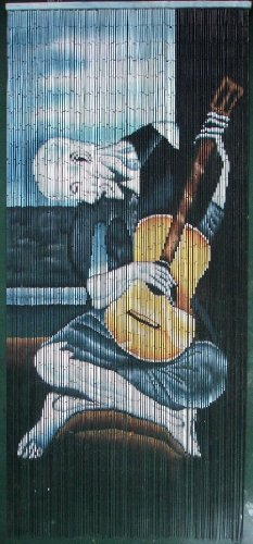 Old Guitarist - Picasso Beaded Curtain 125 Strands (+hanging hardware) (Hanging Wooden Door Beads)