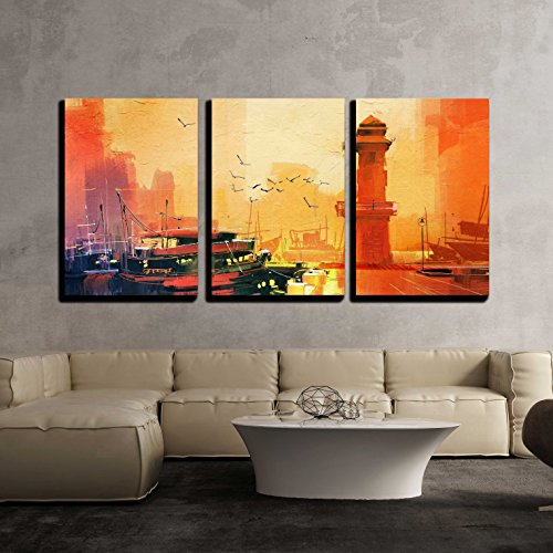 Sun Oil Painting - wall26 - 3 Piece Canvas Wall Art - Lighthouse and Fishing Boat at Sunset,Oil Painting Style - Modern Home Decor Stretched and Framed Ready to Hang - 16