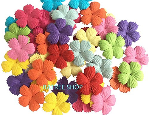 100 pcs Patch Flowers 25x25mm Mulberry Paper Flower scrapbooking wedding doll house supplies card. - Craft Paper Flowers Pack