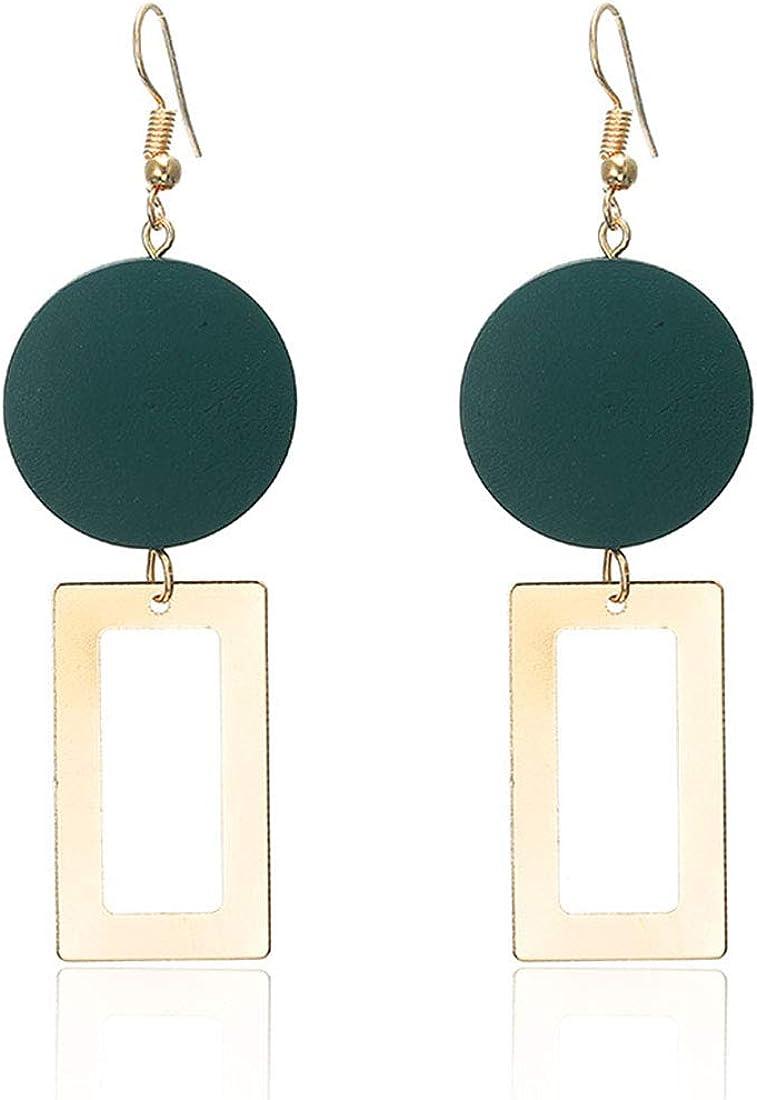 1 Pair Modern Women Geometric Rectangle Earrings Acrylic Dangle Stud Earring