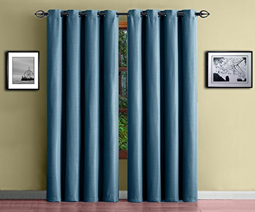 Warm Home Designs 1 Panel Of Blue Teal Insulated Blackout Curtains With Grommet Top Extra Wide