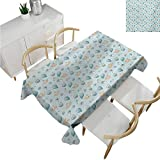 familytaste Baby,Christmas Tablecloth,Infant Head with Balloons Pacifiers and Milk Bottles Newborn Inspired,Polyester Washable Table Cover 60''x 102''
