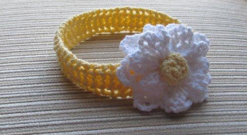 Knitting Pattern Yellow Headband with a White Flower