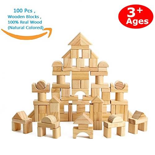 CECII 100 Pcs Wooden Blocks Wood Building Block Set with Carrying Bag – 100% Real Wood(Natural Colored)