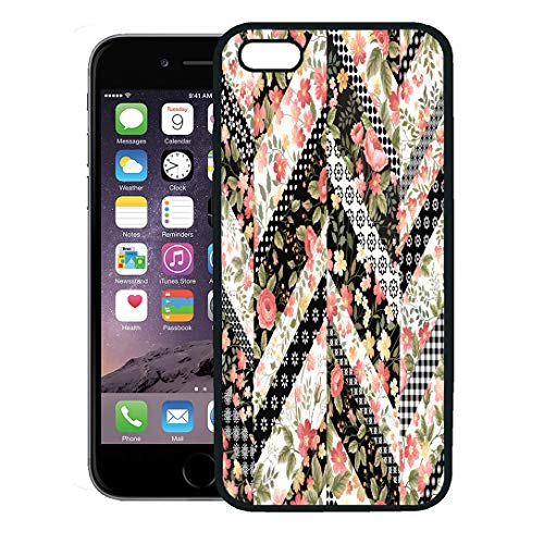 - Semtomn Phone Case for iPhone 8 Plus case,Flower Floral Patchwork Pattern Roses Quilt Zag Zig Abstract Black iPhone 7 Plus case Cover,Black