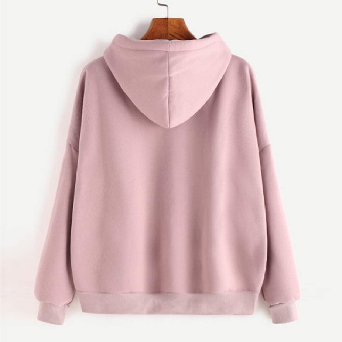 GodeyesWomen Long-Sleeve Pure Casual Drawstring Hoodies Sweater Pullover