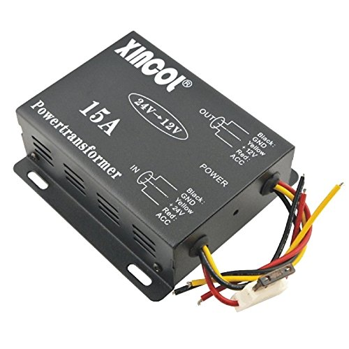 UXOXAS Vehicle Car DC 24V to 12V 15A Power Supply Transformer Converter-Black