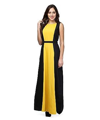 d2c4bd554a4 V&M Women'S Mustard Yellow-Black Dresses