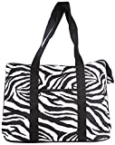 Ever Moda Zebra Print Extra Large Tote Bag with Coin Purse, Black and White