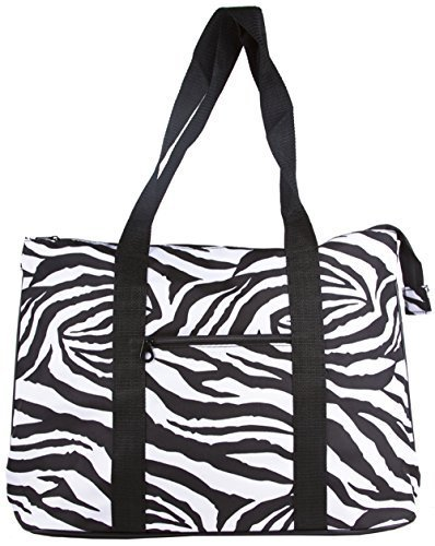 Ever Moda Zebra Print Extra Large Tote Bag with Coin Purse, Black and White by scarlettsbags