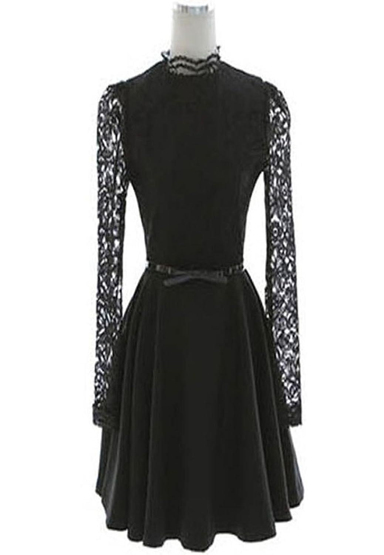 Damen Stehkragen Langarm Spitze Lace angenäht Kleid Petticoat Tütü Tutu Rock