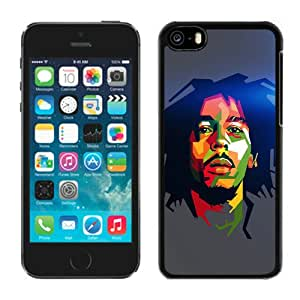 5C Cover Case,Bob Marley Blue Art Illust Music Reggae Celebrity Black Personalized Cool Design iPhone 5C Case