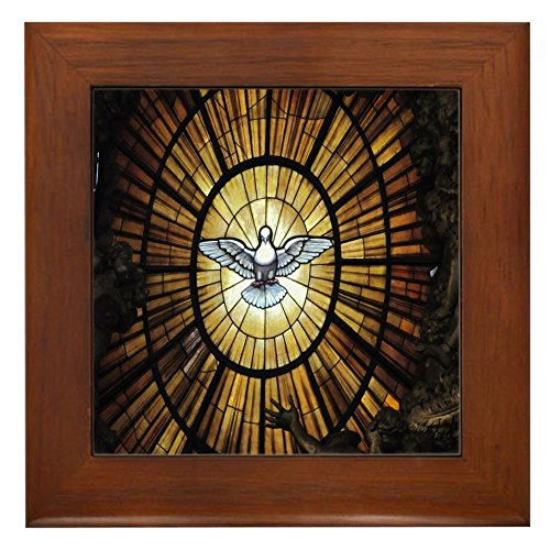 CafePress - Stained Glass Dove Framed Ti - Holy Spirit Stained Glass Shopping Results