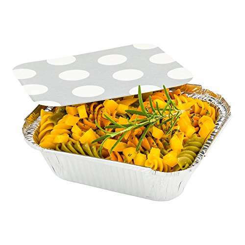 Disposable Aluminum Foil Take Out Food Containers, To Go Pans with Lids - 12 oz - Catering, Meal Prep, Carry Out - Silver Foil with Polka Dot Lid - 200ct Box - Restaurantware