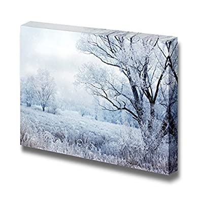 Canvas Prints Wall Art - Winter Evening Landscape with Falling Snow - 16