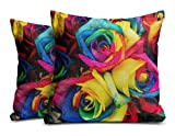 Mukesh Handicrafts Rose Jute Fabric Cushion Cover Set Of 2 - Size (24X24 Inches)