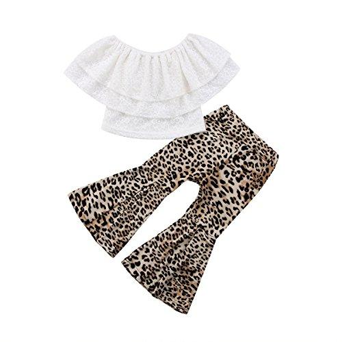 Baby Girls Lace Off Shoulder Crop Tube Top+High Waist Long Leopard Pants Bell Bottom Lrggings Set (Leopard, (Waist Leopard)