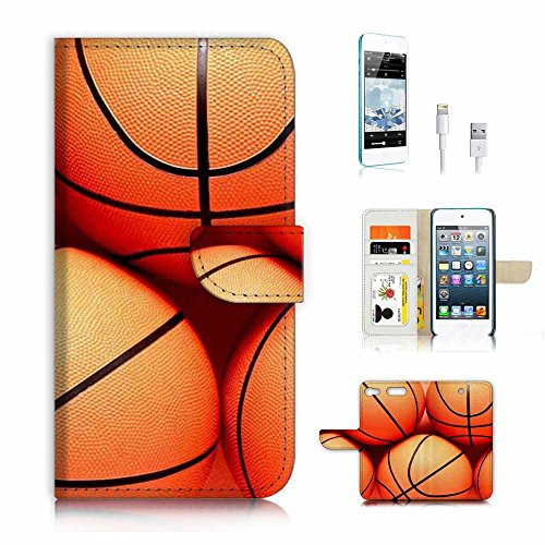 ( For ipod 6, itouch 6, touch 6 ) Flip Wallet Case Cover & Screen Protector & Charging Cable Bundle! A3946 Basketball