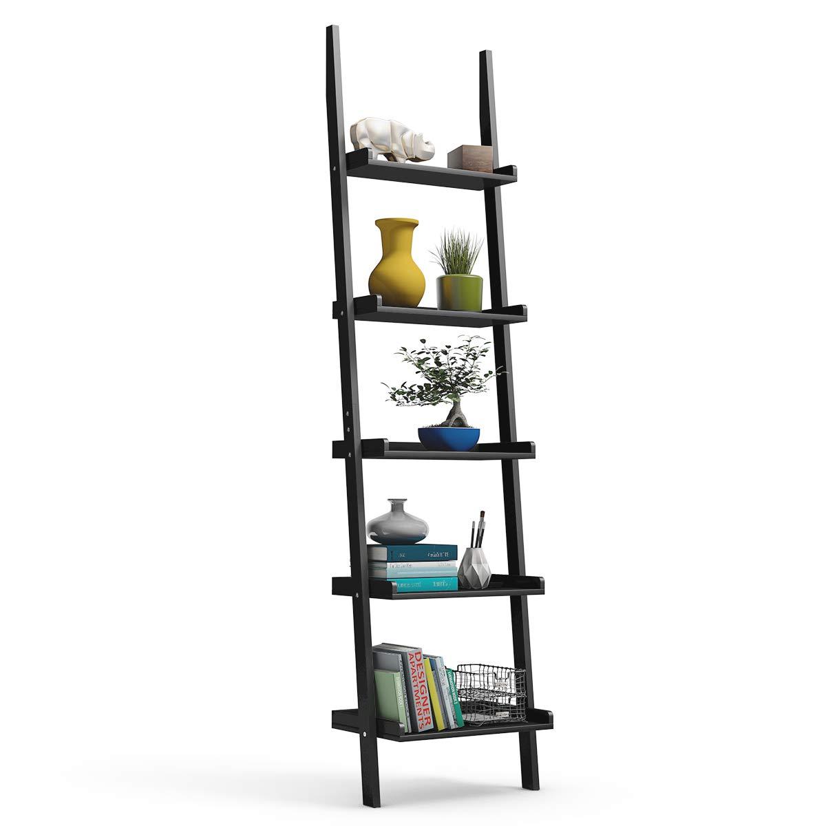 Tangkula Ladder Shelf, 5-Tier Multifunctional Modern Wood Plant Flower Book Display Shelf, Home Office Storage Rack Leaning Ladder Wall Shelf (Black, 1) by Tangkula