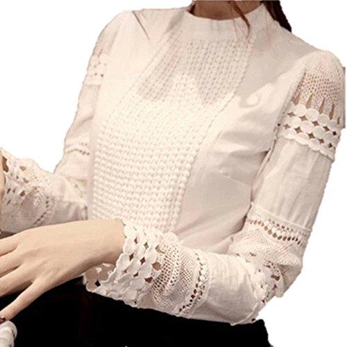 競う免除する半球レディース ブラウス blouse 変わり レース 長袖 丸襟 エレガント 透かし 彫りデザイン ジャケット カーディガンのインナーなどに 白 ホワイト S M L サイズ ShareO2(シェアオーツー)オリジナル