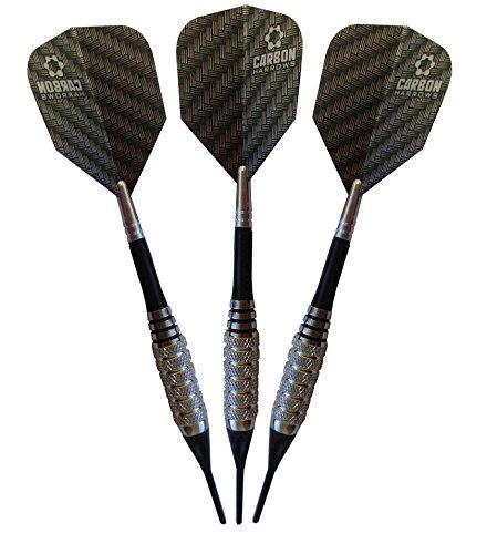 Harrows Carbon 14 Gram Spinning Bee Soft Tip Dart Set, Nylon Spinning with Aluminum Top Shafts, Standard Dart Flight and Dart Case (AO201)