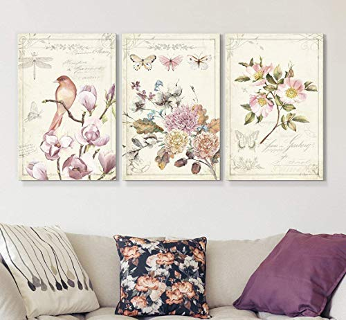 - wall26 3 Panel Canvas Wall Art - Vintage Style Birds Flowers on Floral Background - Giclee Print Gallery Wrap Modern Home Decor Ready to Hang - 16