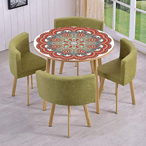 Round Table/Wall/Floor Decal Strikers/Removable/Ancient Macro Mandala Figure with Nature Elements Like Embroidery Mosaic Print/for Living Room/Kitchens/Office Decoration (Neon Dragon)