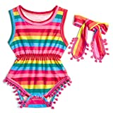 RAISEVERN Rompers for Toddlers Girls' Pink and Blue Outfits with Love Prints with Snap Button Babysuit Size 100 Rainbow